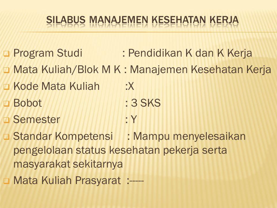  Program Studi : Pendidikan K dan K Kerja  Mata Kuliah/Blok M K : Manajemen Kesehatan Kerja  Kode Mata Kuliah :X  Bobot : 3 SKS  Semester : Y  S