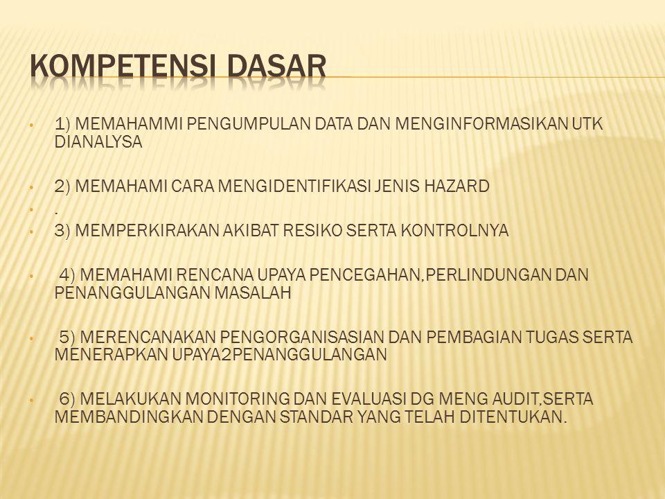 1) MEMAHAMMI PENGUMPULAN DATA DAN MENGINFORMASIKAN UTK DIANALYSA 2) MEMAHAMI CARA MENGIDENTIFIKASI JENIS HAZARD. 3) MEMPERKIRAKAN AKIBAT RESIKO SERTA