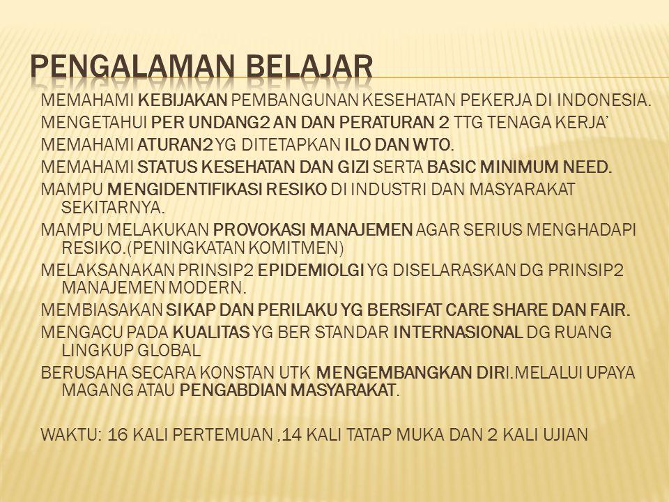 MEMAHAMI KEBIJAKAN PEMBANGUNAN KESEHATAN PEKERJA DI INDONESIA. MENGETAHUI PER UNDANG2 AN DAN PERATURAN 2 TTG TENAGA KERJA' MEMAHAMI ATURAN2 YG DITETAP