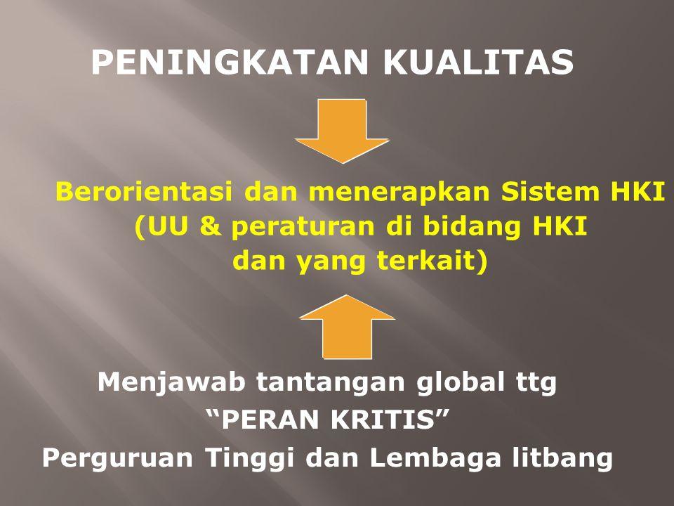 """Berorientasi dan menerapkan Sistem HKI (UU & peraturan di bidang HKI dan yang terkait) PENINGKATAN KUALITAS Menjawab tantangan global ttg """"PERAN KRITI"""