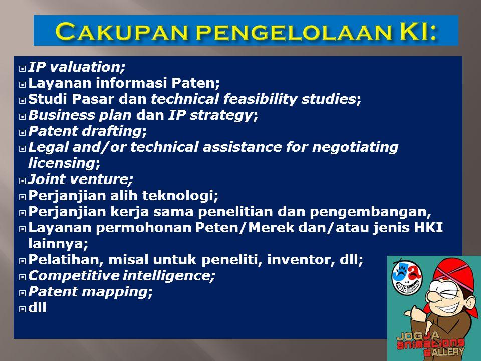  IP valuation;  Layanan informasi Paten;  Studi Pasar dan technical feasibility studies;  Business plan dan IP strategy;  Patent drafting;  Lega
