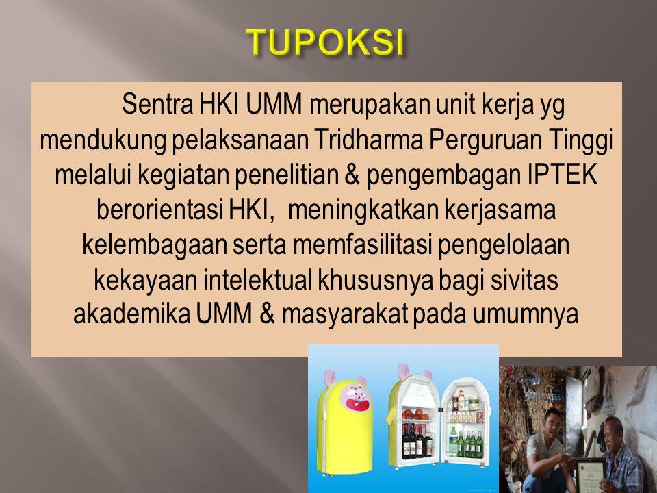 Sentra HKI UMM merupakan unit kerja yg mendukung pelaksanaan Tridharma Perguruan Tinggi melalui kegiatan penelitian & pengembagan IPTEK berorientasi H