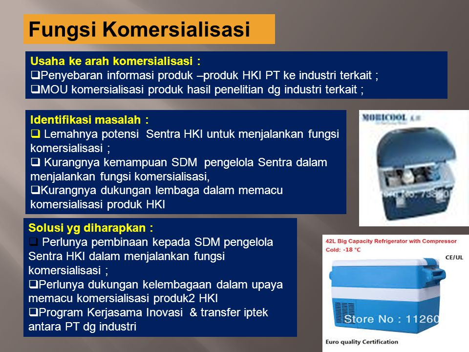 Fungsi Komersialisasi Usaha ke arah komersialisasi :  Penyebaran informasi produk –produk HKI PT ke industri terkait ;  MOU komersialisasi produk ha