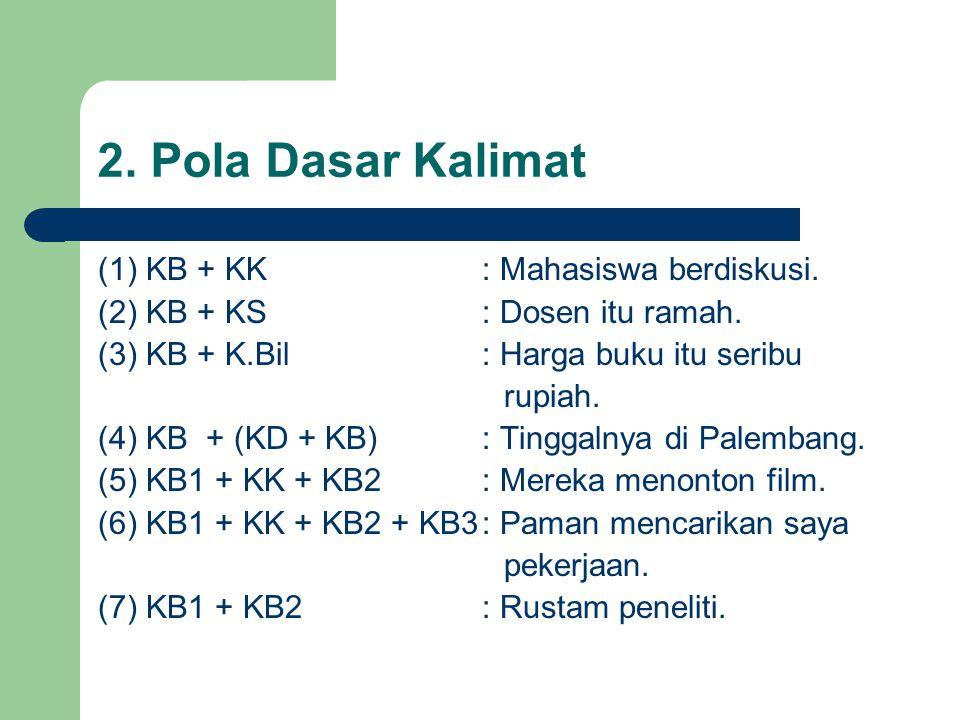 2. Pola Dasar Kalimat (1) KB + KK: Mahasiswa berdiskusi. (2) KB + KS: Dosen itu ramah. (3) KB + K.Bil: Harga buku itu seribu rupiah. (4) KB + (KD + KB