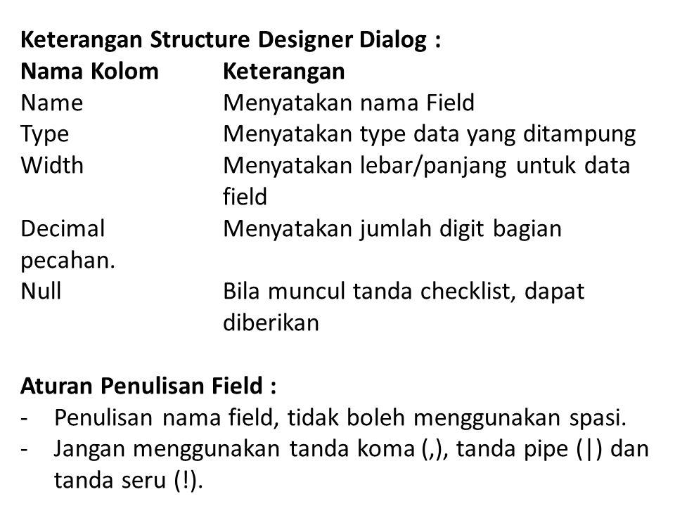 Keterangan Structure Designer Dialog : Nama Kolom Keterangan Name Menyatakan nama Field Type Menyatakan type data yang ditampung Width Menyatakan lebar/panjang untuk data field Decimal Menyatakan jumlah digit bagian pecahan.