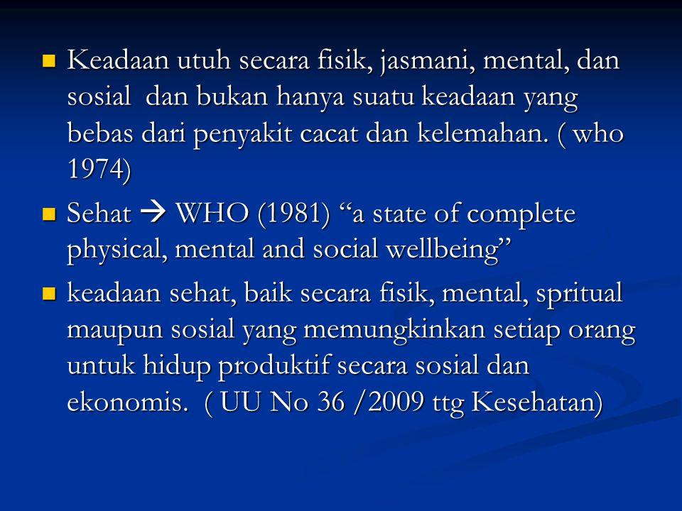 Keadaan utuh secara fisik, jasmani, mental, dan sosial dan bukan hanya suatu keadaan yang bebas dari penyakit cacat dan kelemahan. ( who 1974) Keadaan