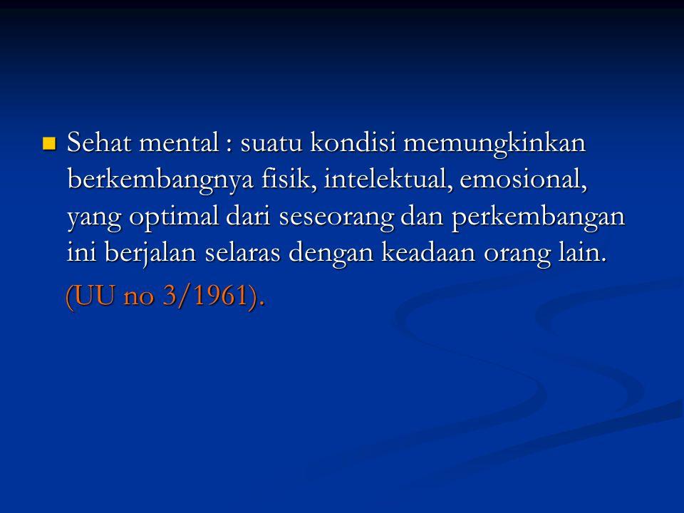 Sehat mental : suatu kondisi memungkinkan berkembangnya fisik, intelektual, emosional, yang optimal dari seseorang dan perkembangan ini berjalan selar