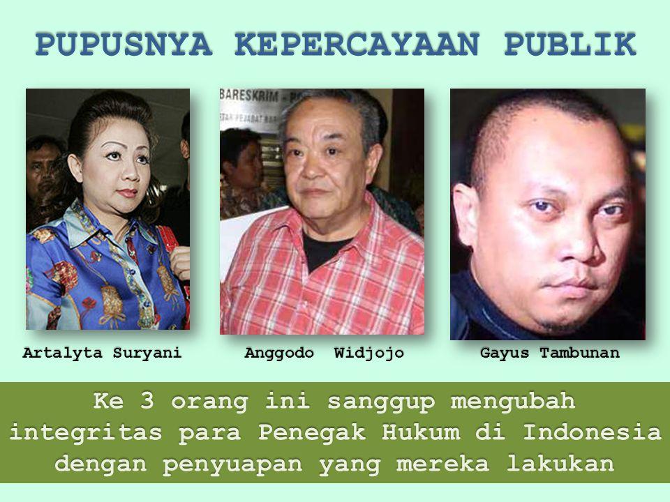 PUPUSNYA KEPERCAYAAN PUBLIK Ke 3 orang ini sanggup mengubah integritas para Penegak Hukum di Indonesia dengan penyuapan yang mereka lakukan Artalyta Suryani Anggodo Widjojo Gayus Tambunan