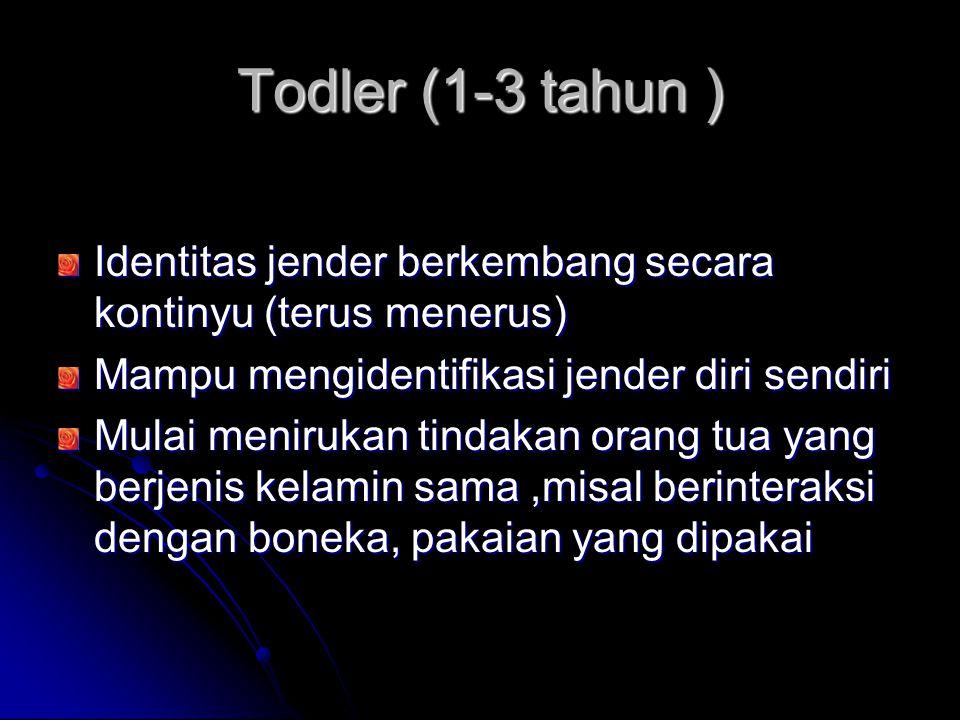 Todler (1-3 tahun ) Identitas jender berkembang secara kontinyu (terus menerus) Mampu mengidentifikasi jender diri sendiri Mulai menirukan tindakan or