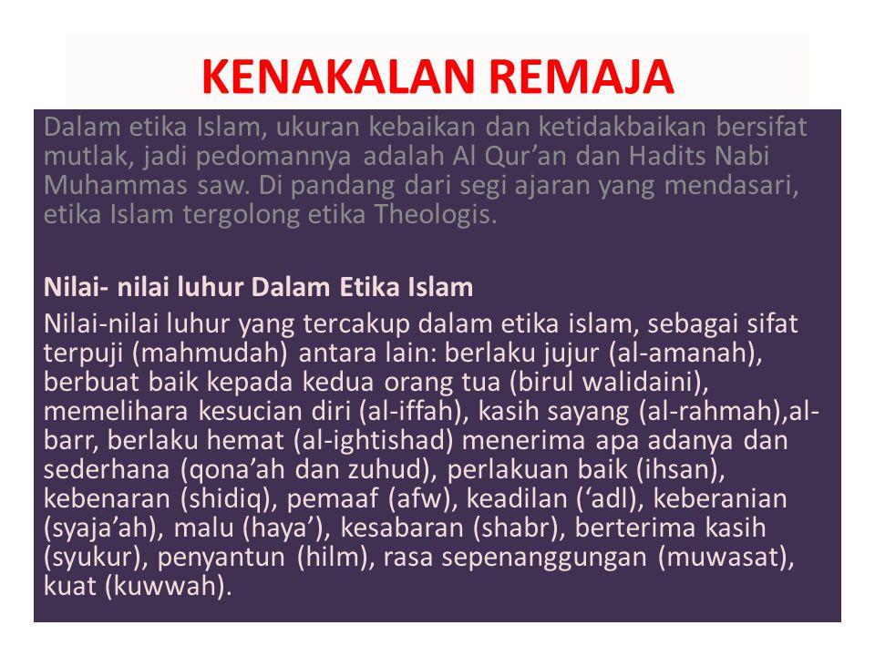 LANJUTAN KENAKALAN REMAJA DALAM SOROTAN ISLAM MELIPUTI; 1.