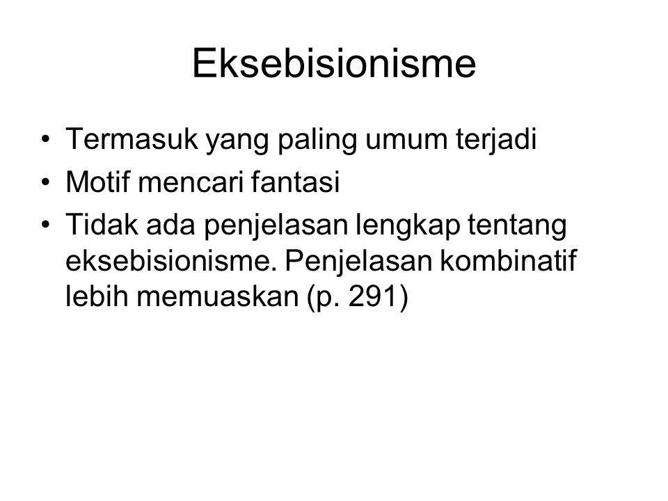 Eksebisionisme Termasuk yang paling umum terjadi Motif mencari fantasi Tidak ada penjelasan lengkap tentang eksebisionisme.