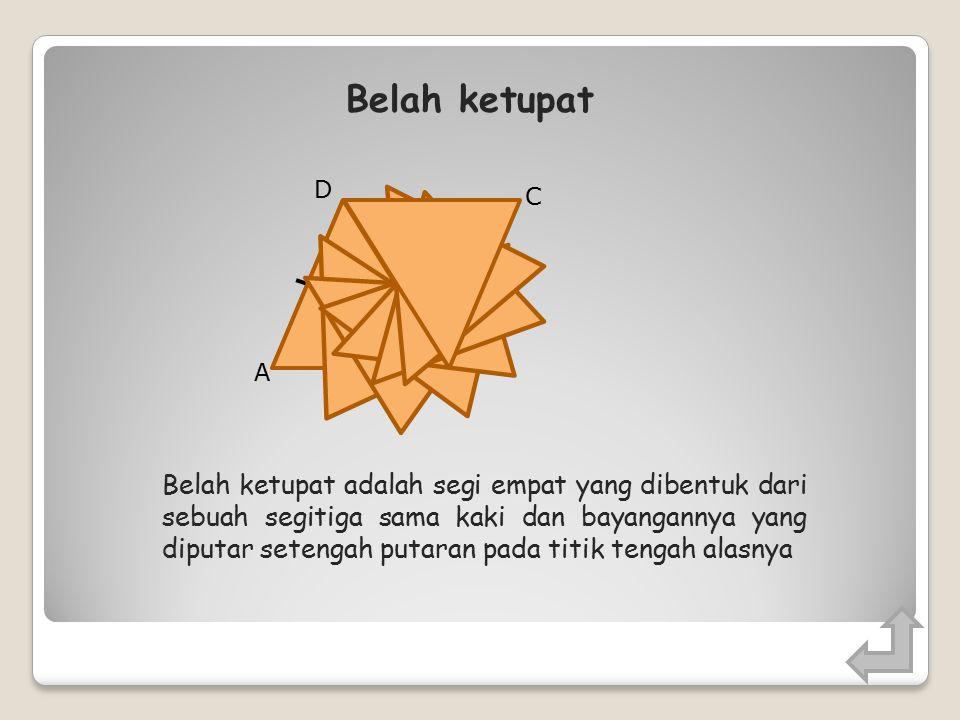Jajargenjang adalah segi empat yang dibentuk dari sebuah segitiga dan bayangannya yang diputar setengah putaran pada titik tengah salah satu sisinya Jajargenjang A B D O C