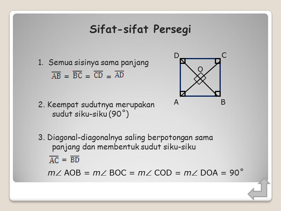 Persegi BA C D Persegi adalah segi empat yang memiliki empat sisi yang sama panjang dan memiliki empat buah sudut siku-siku
