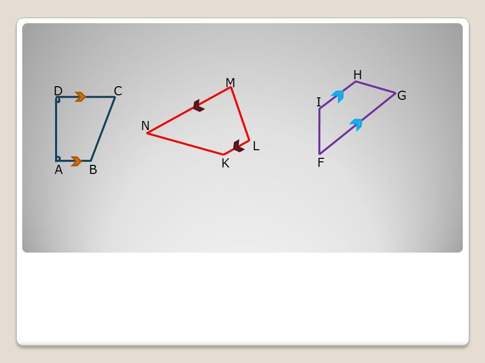Apakah dari ketiga trapesium tersebut memiliki sisi yang sejajar? G F H I K L M N AB DC