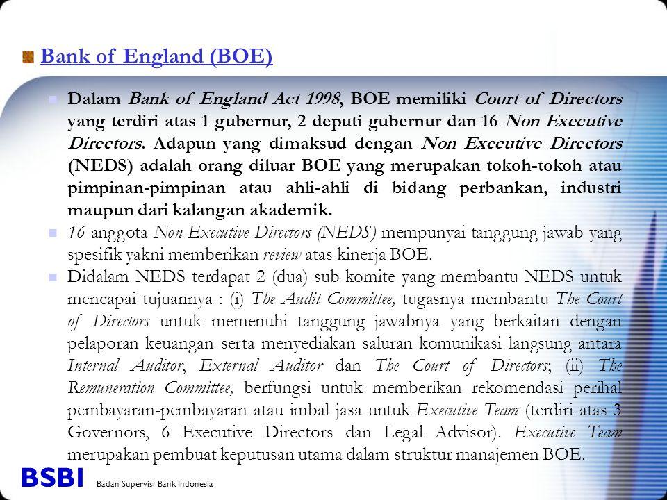 Bank of England (BOE) Dalam Bank of England Act 1998, BOE memiliki Court of Directors yang terdiri atas 1 gubernur, 2 deputi gubernur dan 16 Non Execu