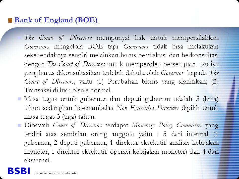 Bank of England (BOE) The Court of Directors mempunyai hak untuk mempersilahkan Governors mengelola BOE tapi Governors tidak bisa melakukan sekehendaknya sendiri melainkan harus berdiskusi dan berkonsultasi dengan The Court of Directors untuk memperoleh persetujuan.