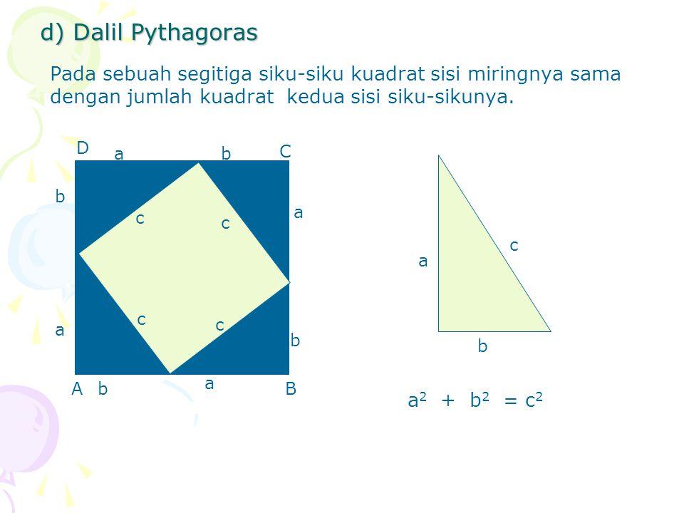 d) Dalil Pythagoras Pada sebuah segitiga siku-siku kuadrat sisi miringnya sama dengan jumlah kuadrat kedua sisi siku-sikunya. D C BA a c b a c b a c b