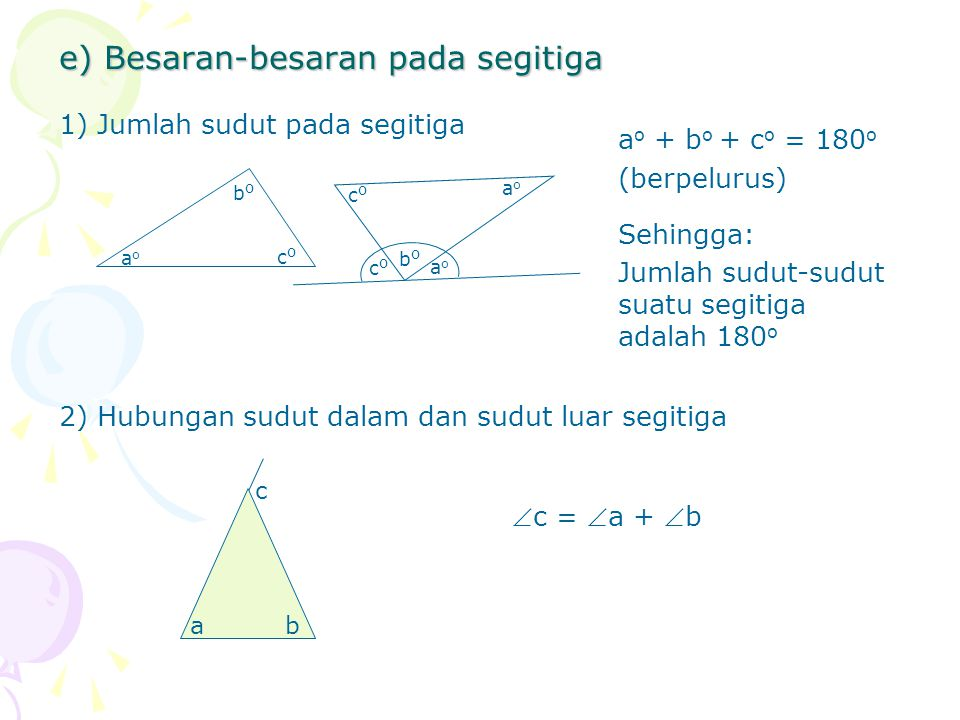 e) Besaran-besaran pada segitiga 1)Jumlah sudut pada segitiga 2)Hubungan sudut dalam dan sudut luar segitiga aoao coco bobo a o + b o + c o = 180 o (b