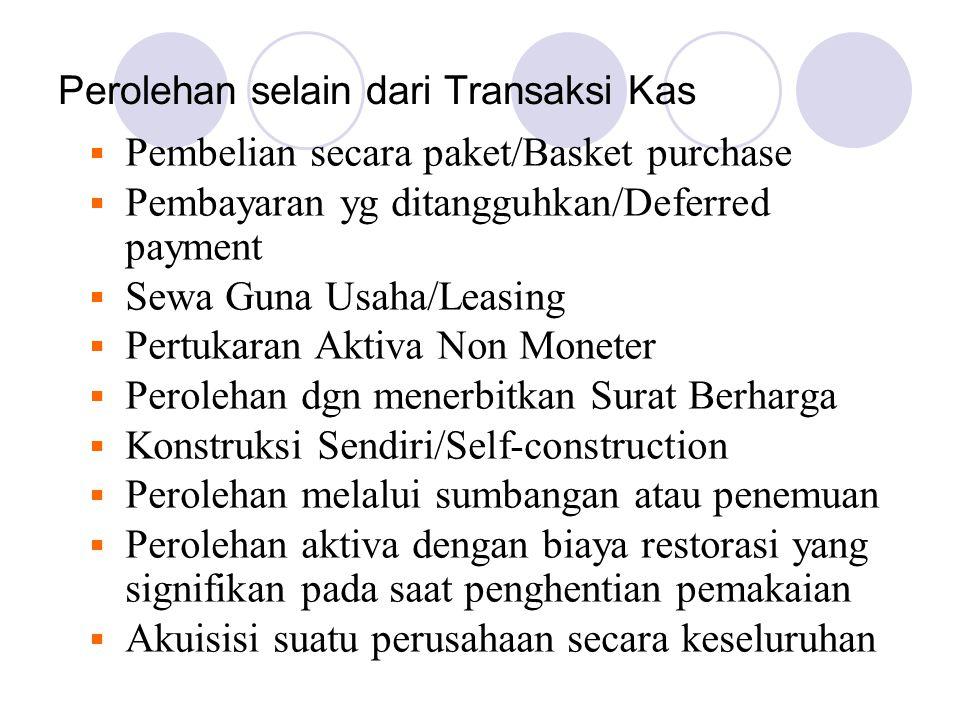 Perolehan selain dari Transaksi Kas  Pembelian secara paket/Basket purchase  Pembayaran yg ditangguhkan/Deferred payment  Sewa Guna Usaha/Leasing 