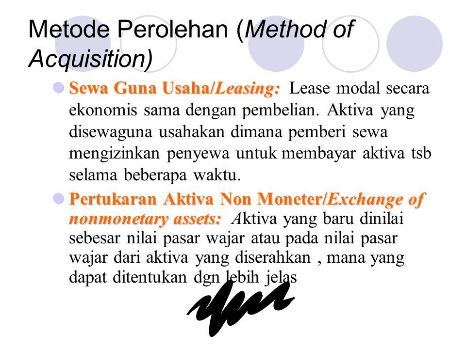 Metode Perolehan (Method of Acquisition) Sewa Guna Usaha/Leasing: Sewa Guna Usaha/Leasing: Lease modal secara ekonomis sama dengan pembelian. Aktiva y