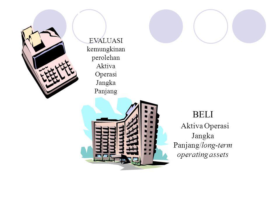 EVALUASI kemungkinan perolehan Aktiva Operasi Jangka Panjang BELI Aktiva Operasi Jangka Panjang/long-term operating assets