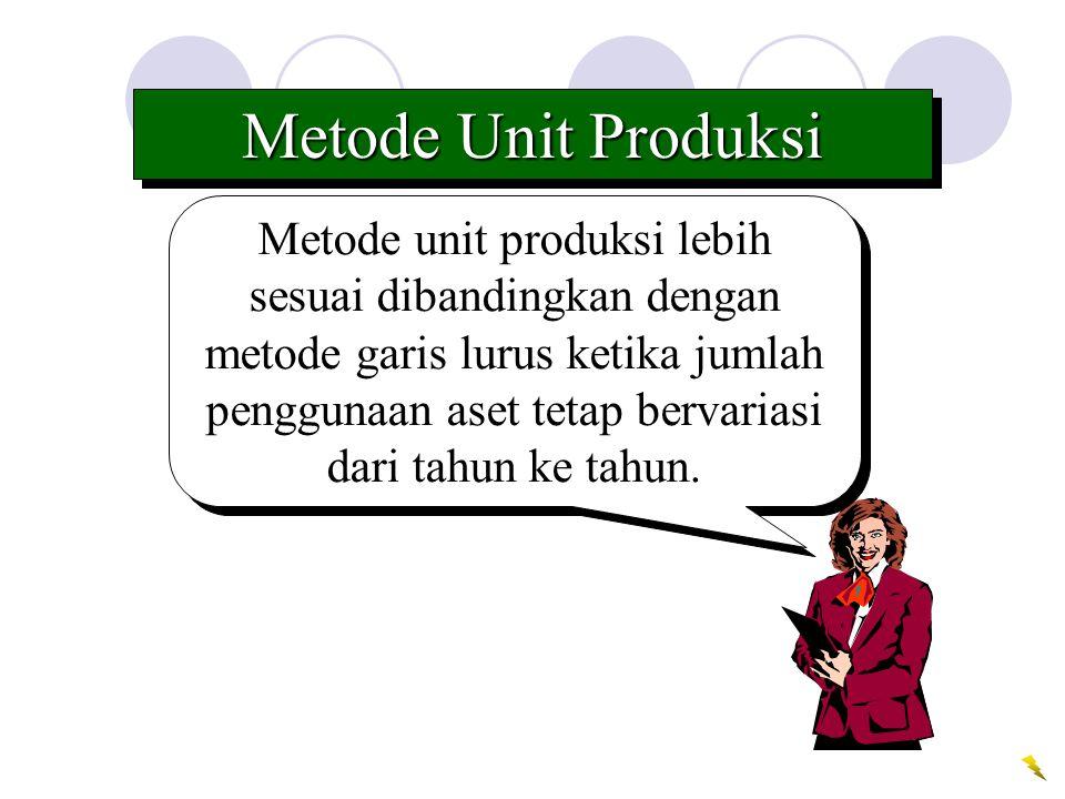 Metode unit produksi lebih sesuai dibandingkan dengan metode garis lurus ketika jumlah penggunaan aset tetap bervariasi dari tahun ke tahun. Metode Un