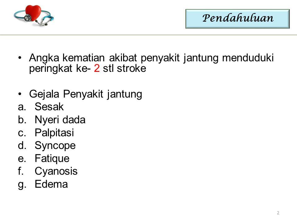 Pendahuluan Angka kematian akibat penyakit jantung menduduki peringkat ke- 2 stl stroke Gejala Penyakit jantung a.Sesak b.Nyeri dada c.Palpitasi d.Syn
