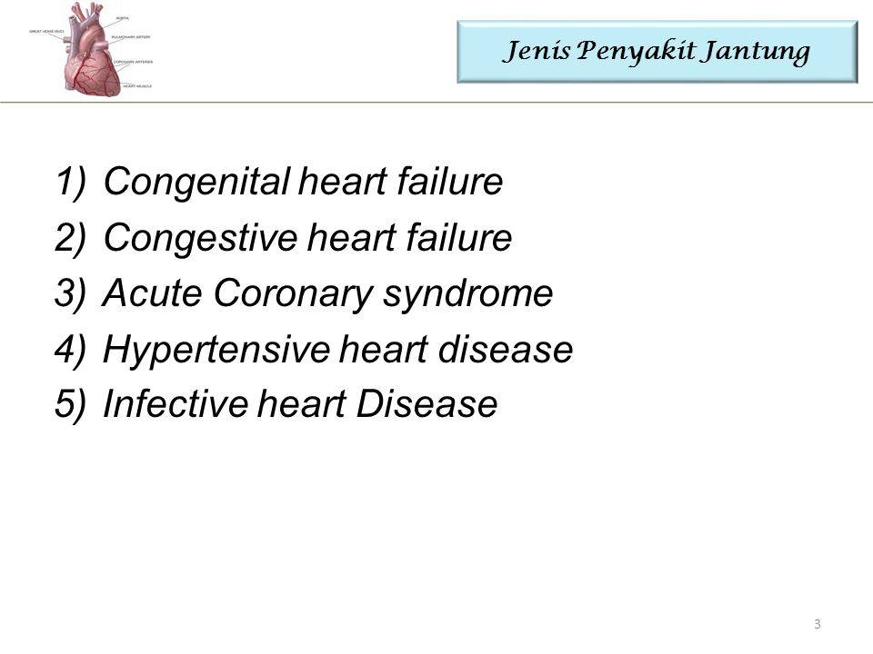 Jenis Penyakit Jantung 1)Congenital heart failure 2)Congestive heart failure 3)Acute Coronary syndrome 4)Hypertensive heart disease 5)Infective heart