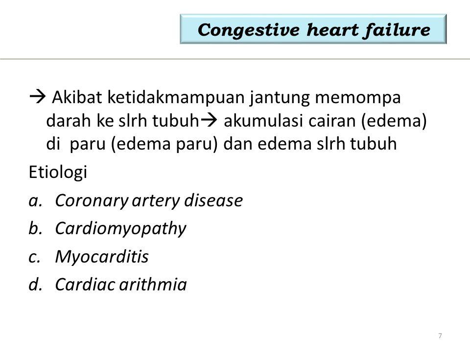 Gejala Klinis: a.Dyspneu b.Edema c.Batuk d.Angina e.Fatique f.Exercise intolerance Lanjutan Congestive heart failure 8