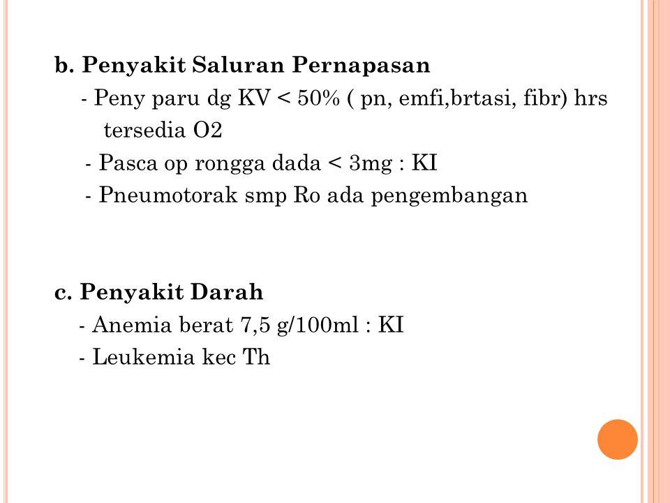 b. Penyakit Saluran Pernapasan - Peny paru dg KV < 50% ( pn, emfi,brtasi, fibr) hrs tersedia O2 - Pasca op rongga dada < 3mg : KI - Pneumotorak smp Ro