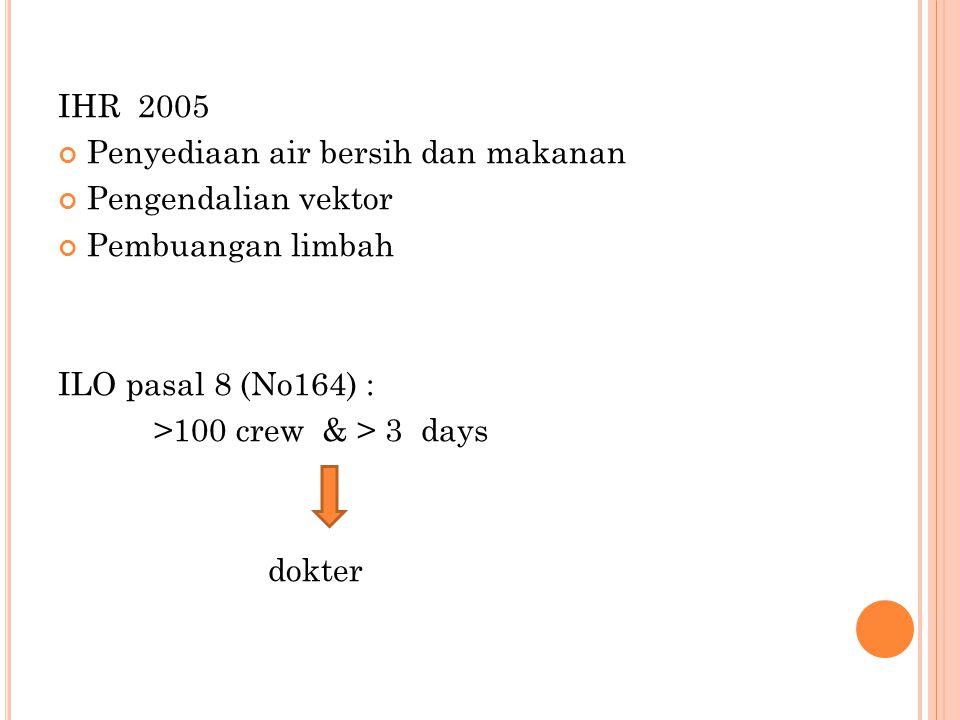 IHR 2005 Penyediaan air bersih dan makanan Pengendalian vektor Pembuangan limbah ILO pasal 8 (No164) : >100 crew & > 3 days dokter