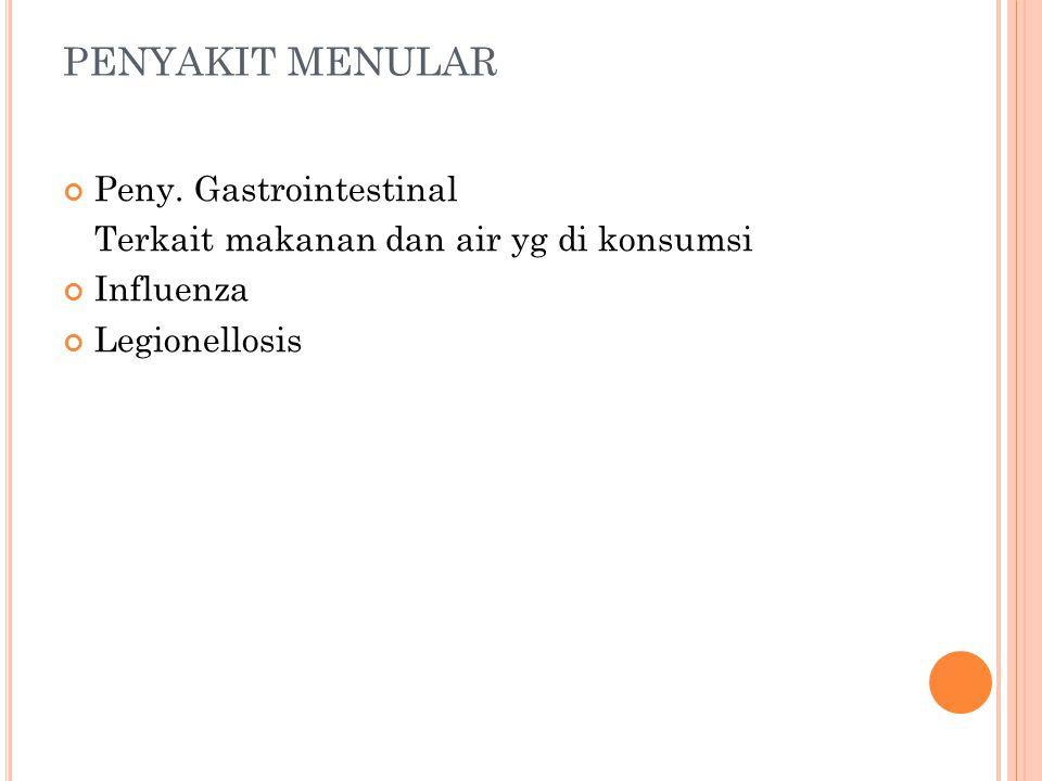PENYAKIT MENULAR Peny. Gastrointestinal Terkait makanan dan air yg di konsumsi Influenza Legionellosis