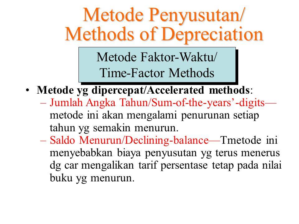 Metode yg dipercepat/Accelerated methods: –Jumlah Angka Tahun/Sum-of-the-years'-digits— metode ini akan mengalami penurunan setiap tahun yg semakin me