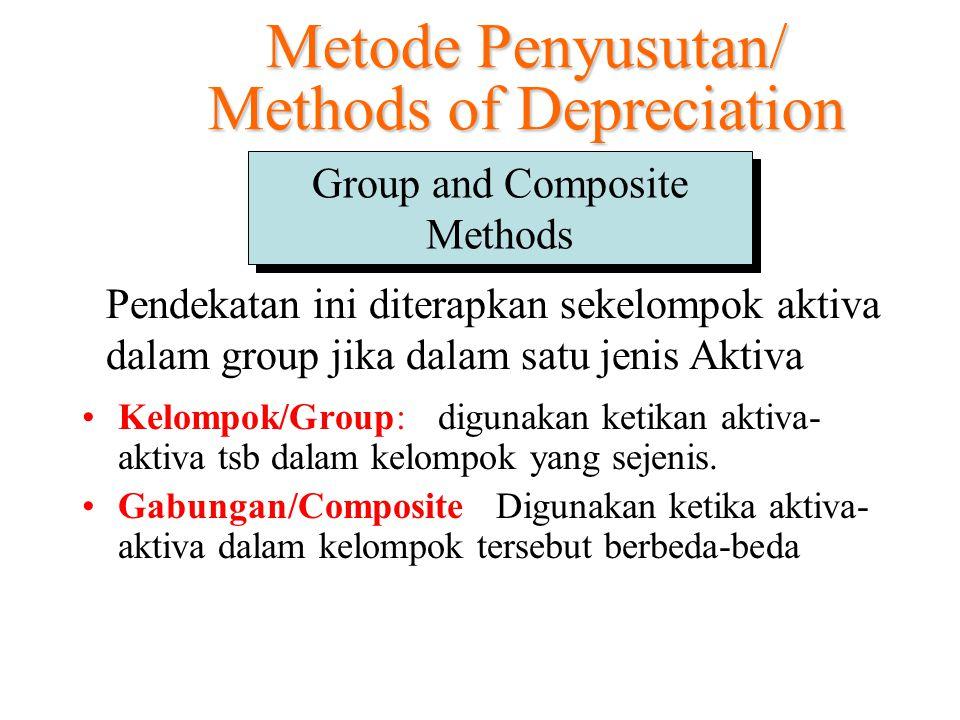 Group and Composite Methods Kelompok/Group: digunakan ketikan aktiva- aktiva tsb dalam kelompok yang sejenis. Gabungan/Composite: Digunakan ketika akt