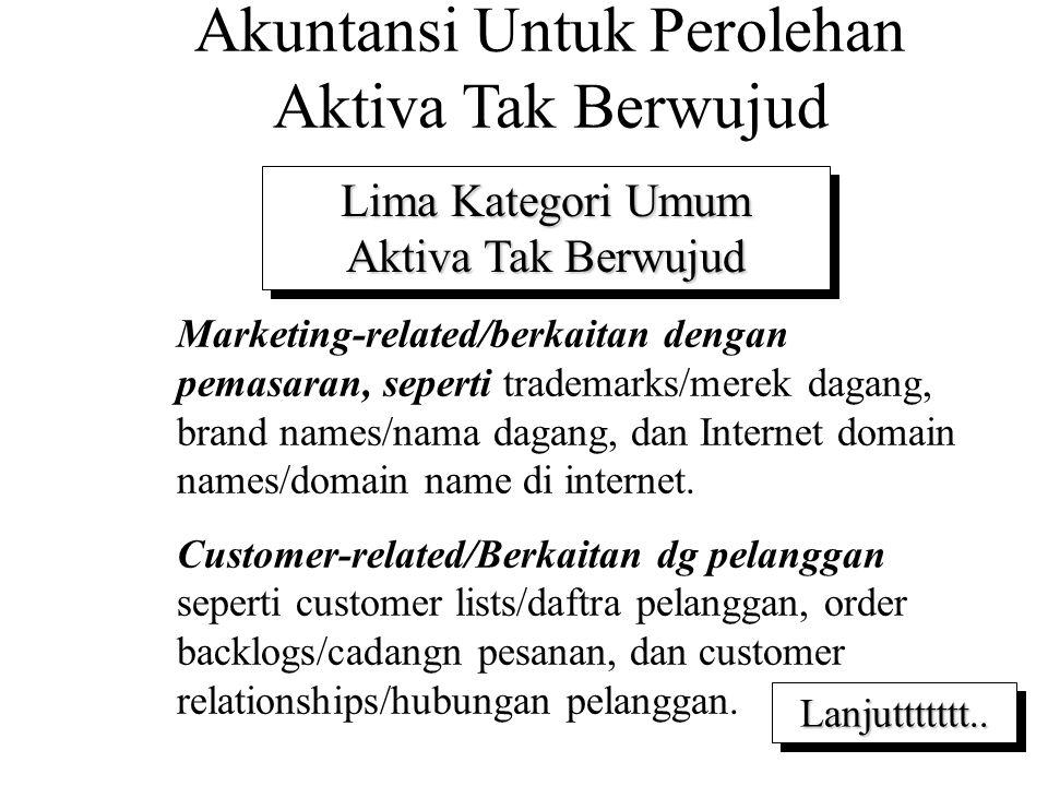 Akuntansi Untuk Perolehan Aktiva Tak Berwujud Lima Kategori Umum Aktiva Tak Berwujud 1.Marketing-related/berkaitan dengan pemasaran, seperti trademarks/merek dagang, brand names/nama dagang, dan Internet domain names/domain name di internet.