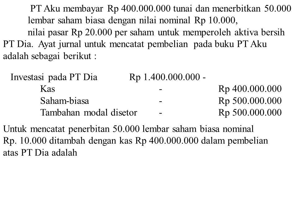 PT Aku membayar Rp 400.000.000 tunai dan menerbitkan 50.000 lembar saham biasa dengan nilai nominal Rp 10.000, nilai pasar Rp 20.000 per saham untuk memperoleh aktiva bersih PT Dia.