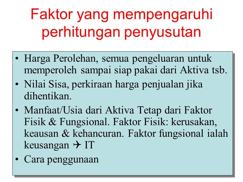 Faktor yang mempengaruhi perhitungan penyusutan Harga Perolehan, semua pengeluaran untuk memperoleh sampai siap pakai dari Aktiva tsb.