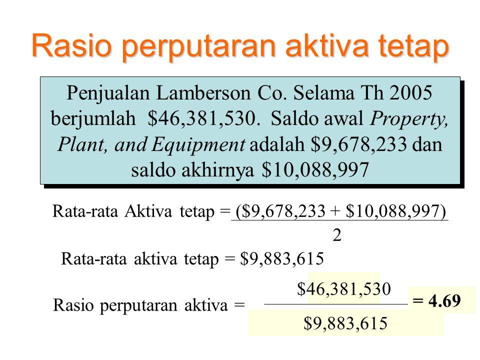 Sales Average Fixed Assets Rasio perputaran aktiva = Rasio perputaran aktiva tetap Penjualan Lamberson Co. Selama Th 2005 berjumlah $46,381,530. Saldo