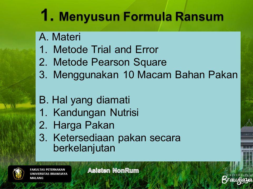 A. Materi 1.Metode Trial and Error 2.Metode Pearson Square 3.Menggunakan 10 Macam Bahan Pakan B. Hal yang diamati 1.Kandungan Nutrisi 2.Harga Pakan 3.