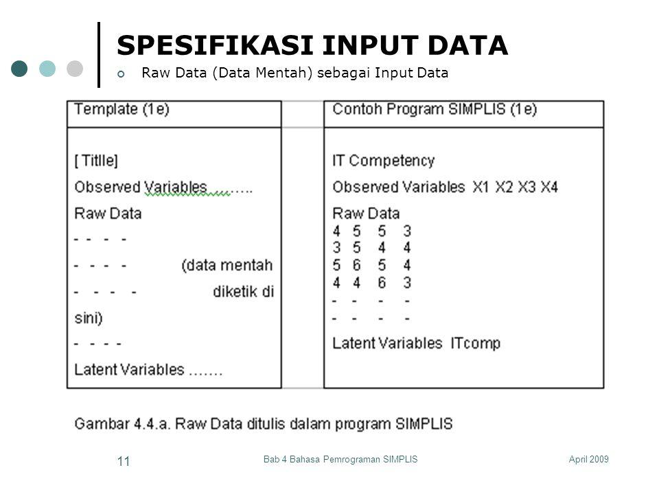 April 2009Bab 4 Bahasa Pemrograman SIMPLIS 11 SPESIFIKASI INPUT DATA Raw Data (Data Mentah) sebagai Input Data