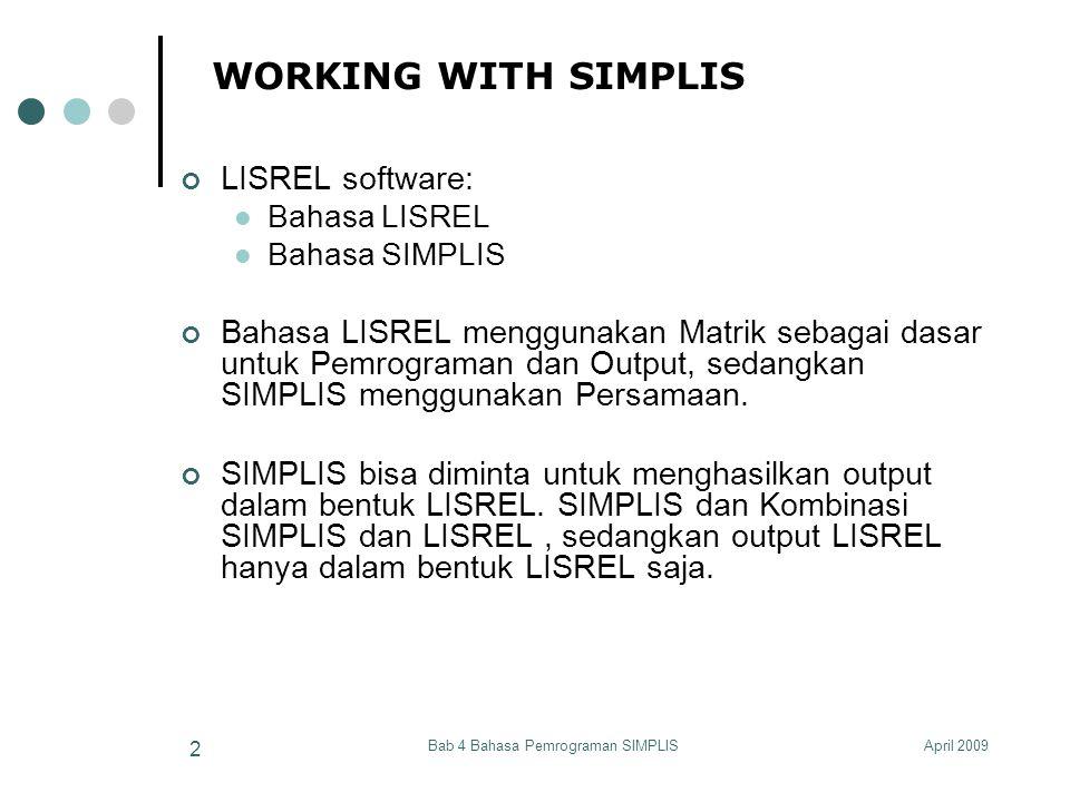 April 2009Bab 4 Bahasa Pemrograman SIMPLIS 2 WORKING WITH SIMPLIS LISREL software: Bahasa LISREL Bahasa SIMPLIS Bahasa LISREL menggunakan Matrik sebag