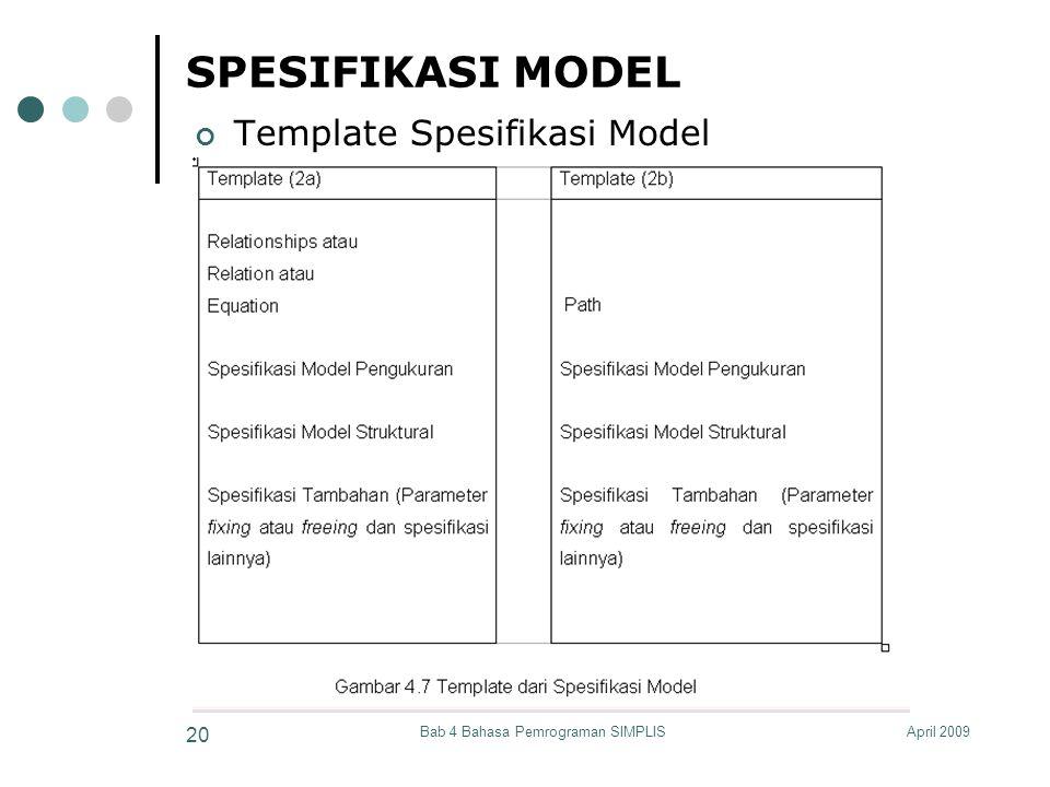 April 2009Bab 4 Bahasa Pemrograman SIMPLIS 20 SPESIFIKASI MODEL Template Spesifikasi Model