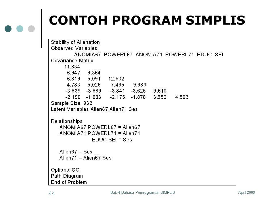 April 2009Bab 4 Bahasa Pemrograman SIMPLIS 44 CONTOH PROGRAM SIMPLIS
