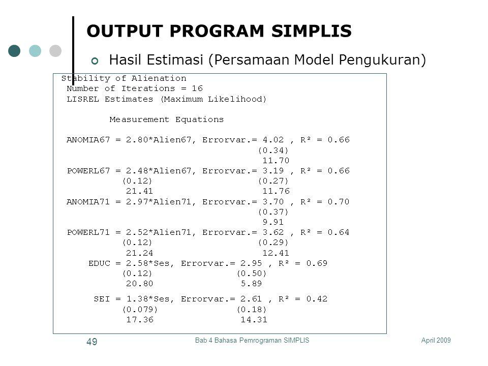 April 2009Bab 4 Bahasa Pemrograman SIMPLIS 49 OUTPUT PROGRAM SIMPLIS Hasil Estimasi (Persamaan Model Pengukuran)