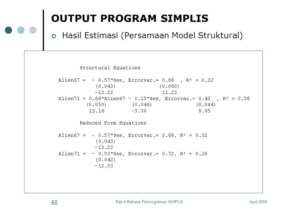 April 2009Bab 4 Bahasa Pemrograman SIMPLIS 50 OUTPUT PROGRAM SIMPLIS Hasil Estimasi (Persamaan Model Struktural)