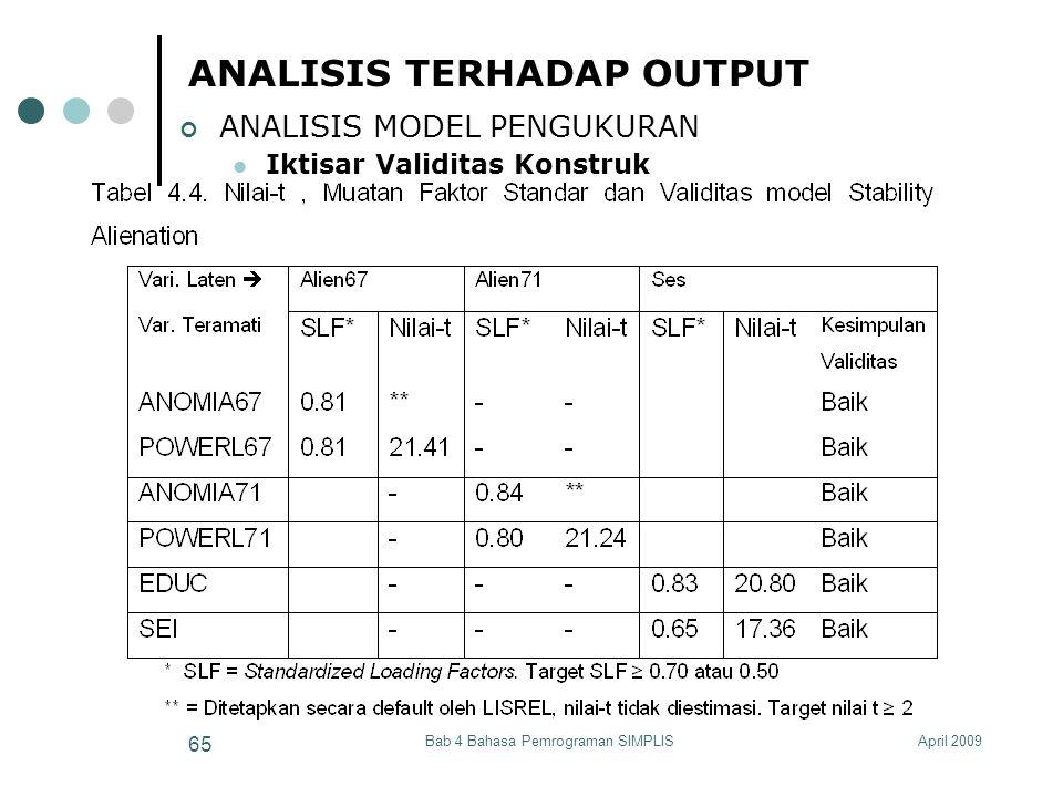 April 2009Bab 4 Bahasa Pemrograman SIMPLIS 65 ANALISIS TERHADAP OUTPUT ANALISIS MODEL PENGUKURAN Iktisar Validitas Konstruk