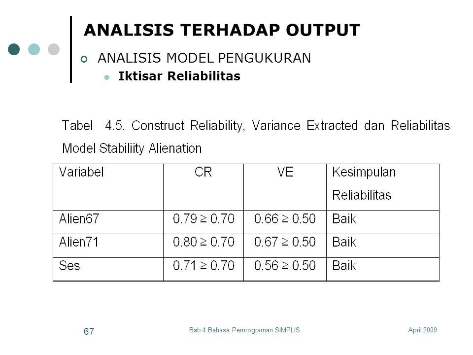 April 2009Bab 4 Bahasa Pemrograman SIMPLIS 67 ANALISIS TERHADAP OUTPUT ANALISIS MODEL PENGUKURAN Iktisar Reliabilitas