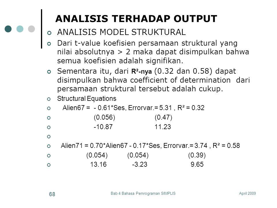 April 2009Bab 4 Bahasa Pemrograman SIMPLIS 68 ANALISIS TERHADAP OUTPUT ANALISIS MODEL STRUKTURAL Dari t-value koefisien persamaan struktural yang nila