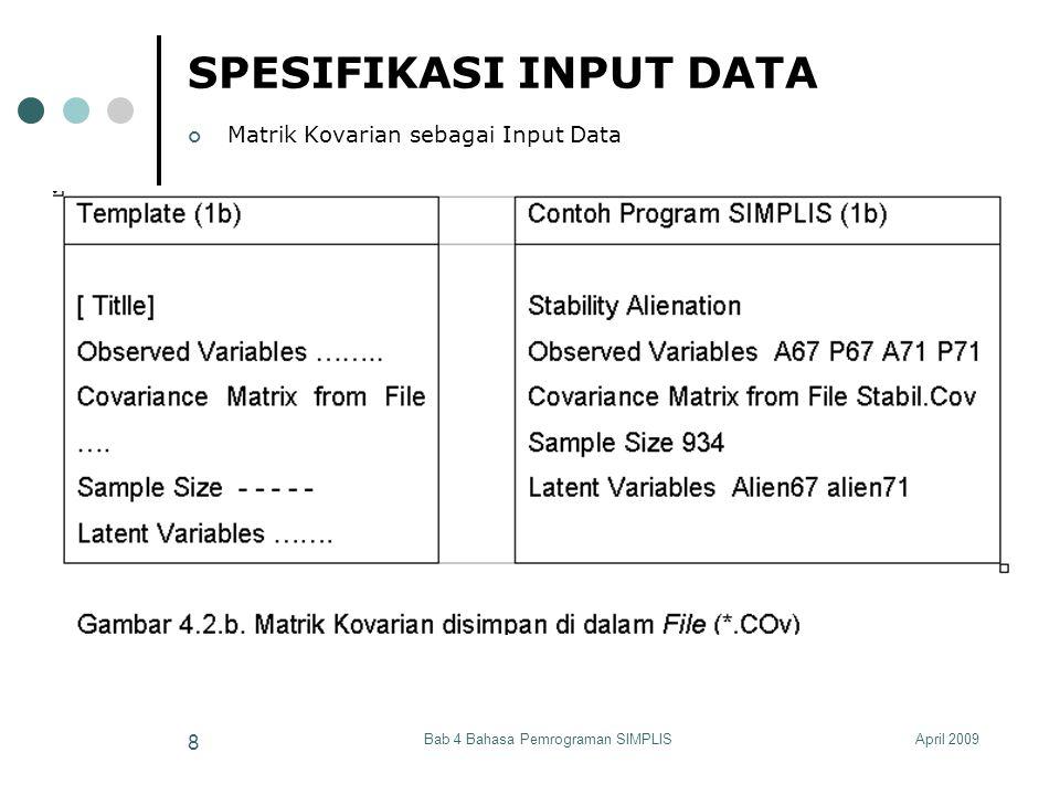 April 2009Bab 4 Bahasa Pemrograman SIMPLIS 19 SPESIFIKASI INPUT DATA Asymptotic Covariance Matrix Asymptotic Covariance Matrix from File filename Diperlukan untuk estimasi WLS Asymptotic Variance Matrix Asymptotic Variance Matrix from File filename Diperlukan untuk estimasi DWLS