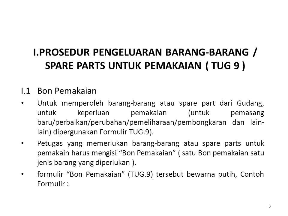 I.PROSEDUR PENGELUARAN BARANG-BARANG / SPARE PARTS UNTUK PEMAKAIAN ( TUG 9 ) I.1Bon Pemakaian Untuk memperoleh barang-barang atau spare part dari Guda